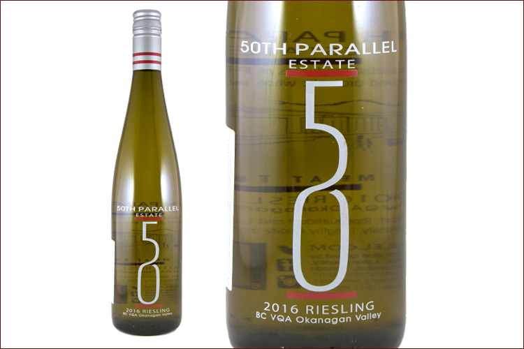 50th Parallel Estate Winery 2016 Estate Riesling wine bottle