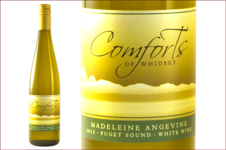 Comforts of Whidbey 2015 Madeleine Angevine wine bottle