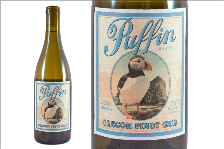 Puffin Wines 2016 Pinot Gris wine bottle