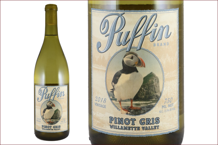 Puffin Wines 2018 Pinot Gris bottle