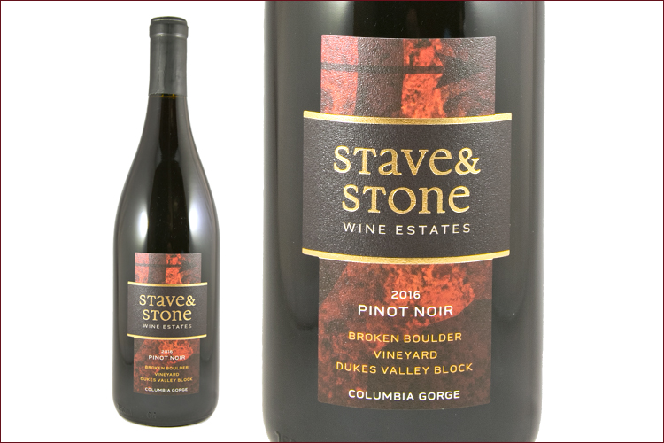 Stave and Stone Winery 2016 Dukes Valley Block Pinot Noir wine bottle